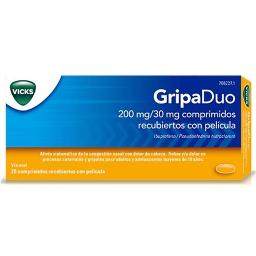 GRIPADUO 200MG/30MG COMPRIMIDOS RECUBIERTOS CON PELICULA , 20 comprimidos