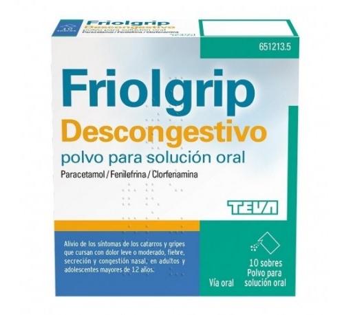 FRIOLGRIP DESCONGESTIVO POLVO PARA SOLUCIÓN ORAL , 10 sobres