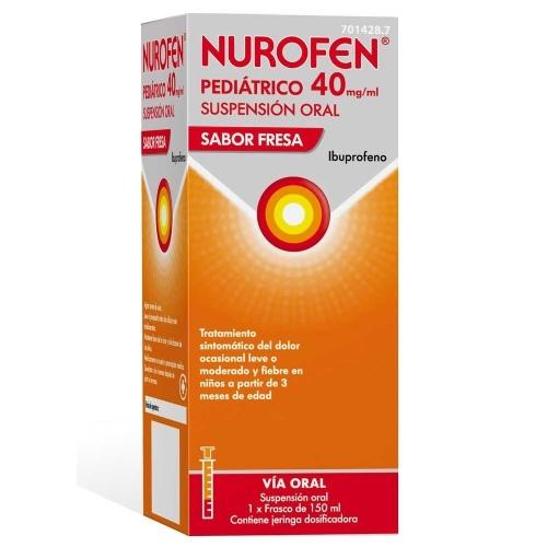 NUROFEN PEDIATRICO 40 MG/ML SUSPENSION ORAL SABOR FRESA, 1 frasco de 150 ml